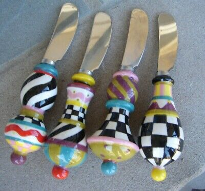 MACKENZIE CHILDS HAND PAINTED CHEESEHORS DOEUVRES SPREADERS SET OF 4NEW
