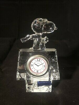Marquis Waterford Crystal Snoopy Flying Ace Clock Charles Scultz PEANUTS perfect