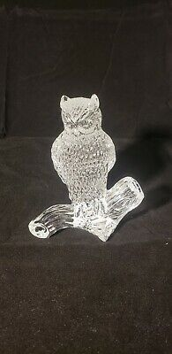 Waterford Crystal Clear Glass Owl Figurine on Branch