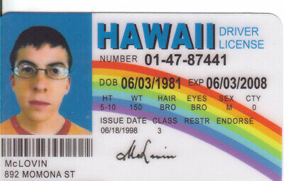 McLovin fake ID from the Movie Superbad fun Novelty Drivers License Super Bad