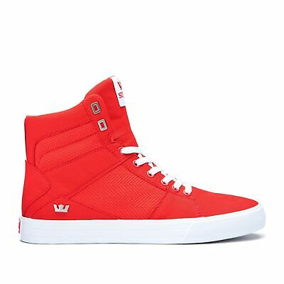 Supra Aluminum High Top Lace Up Sneaker Shoes Risk Red-White Size 9-5