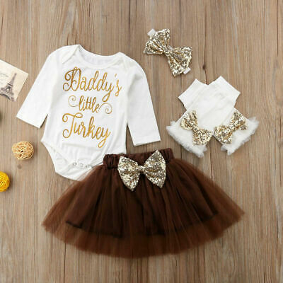 Baby Girls My 1st Thanksgiving Outfit Tops Romper Tutu Dress 4PCS Clothes Set