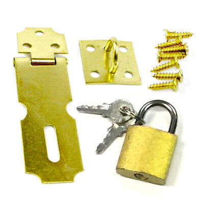 2-5 Brass Door Latch Metal Hasp W Small Padlock Keys - Screws Set Gate Cabinets
