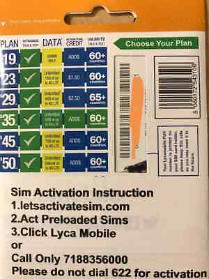 LYCAMOBILE SIM Card Preloaded 29 1 Month plan