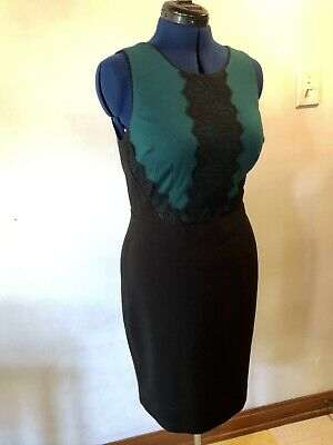 The Limited Size 8 Dress Career Cocktail Color Block Lace V Neck Stretch Lined