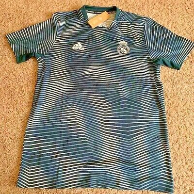 Adidas Mens Real Madrid Pre Match Parley Soccer Jersey Size L NWT 60 Retail