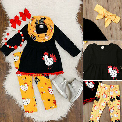 3pcs Toddler Baby Girl Thanksgiving Clothes Turkey Tops Shirt Pants Outfits Set