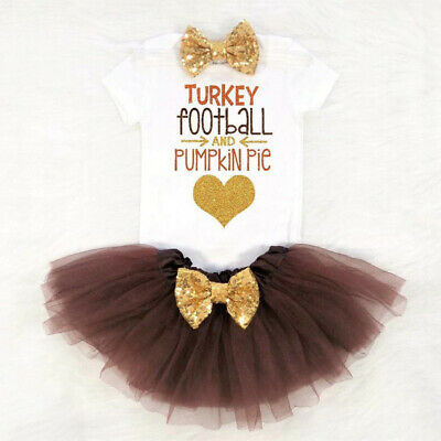 US My First Thanksgiving Baby Girl Clothes Turkey Romper-Tutu Skirt 3PCS Outfits