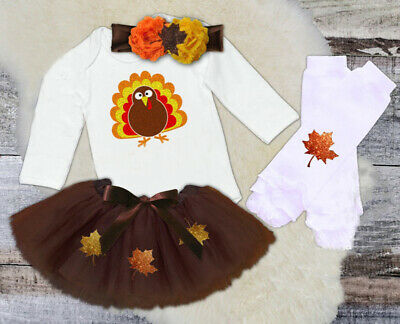 US Kid Baby Girl Thanksgiving Clothes Turkey Romper Tops-Party Tulle Skirt Dress