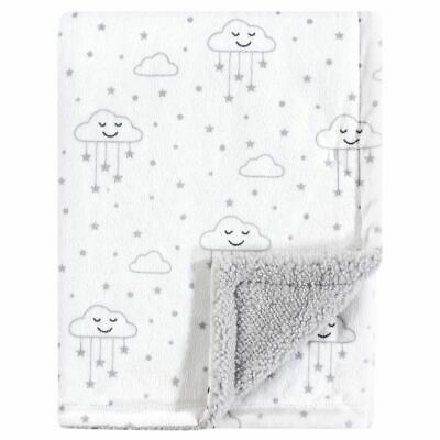Hudson Baby Boy and Girl Mink Blanket with Sherpa Backing Gray Clouds
