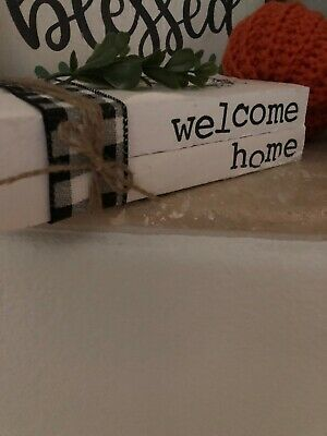 Stamped Books • Farmhouse decor • Rae Dunn Inspired Decor • Welcome Home