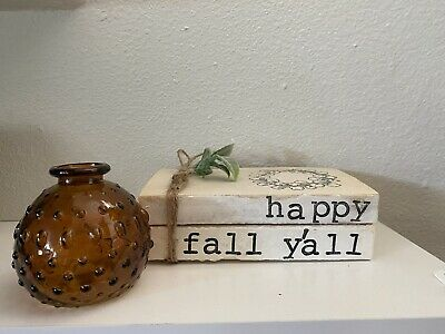 Happy Fall Y'all • Stamped Books • Farmhouse decor • Rae Dunn Inspired Decor