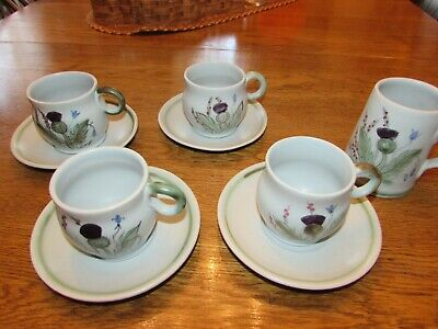 Buchan Thistleware stoneware 4 cups wsaucers and a tankard Scotland