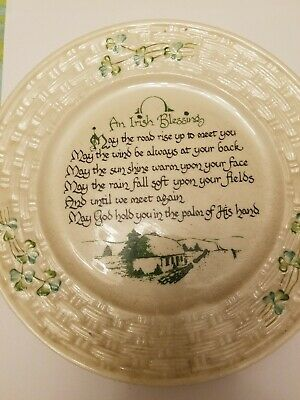 Belleek 3rd Green Mark BLESSING PLATE In perfect condition  Collectors LOOK