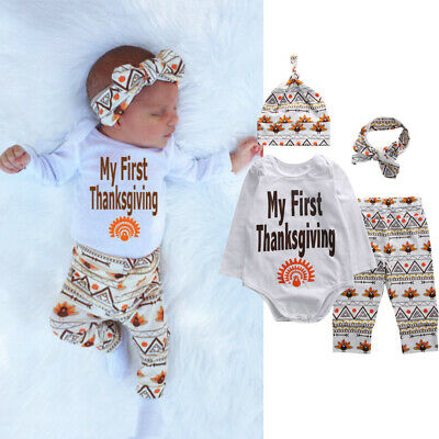 US Newborn Baby Boy Girl My 1st Thanksgiving Clothes Turkey Romper Pants Outfits