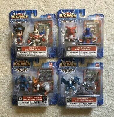8x Figures Complete Set Digimon Fusion Xros Wars Chibi Shoutmon Mikey Greymon