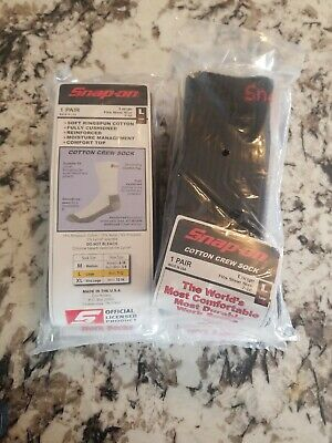 SNAP-ON 5 PAIR BLACK CREW SOCKS FITS SHOE SIZE 7-12 LARGE- NEW SEALED PACK