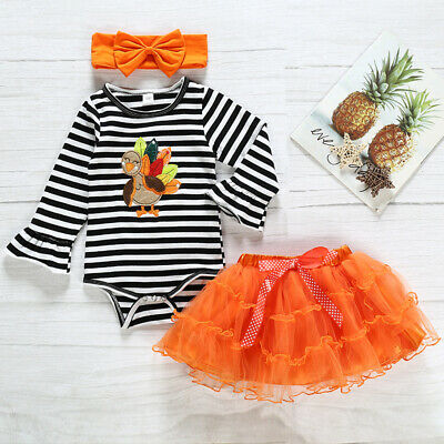 US Turkey Thanksgiving Toddler Baby Girl Romper Tutu Dress Kids Clothes Outfit
