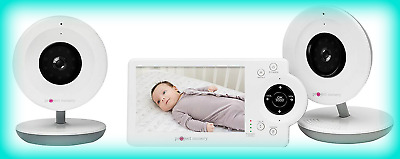 Project Nursery PNM4N12 Video Baby Monitor w 2 Cameras and 4-3 Screen - White