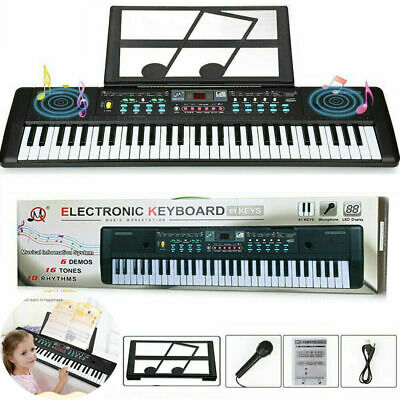 Portable Electronic Keyboard Piano 61 Key WMusic Stand Microphone ForKidsAdult