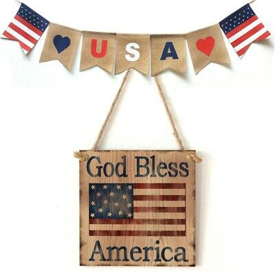 4th of July Independence Day Wooden Square Hanging Sign Board Plaque Decor USA