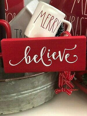 Believe Wood SignTiered TrayRae Dunn InspiredChristmas Decor