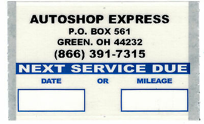CUSTOM  STATIC CLING OIL CHANGE STICKERS 500ROLL ORL5004