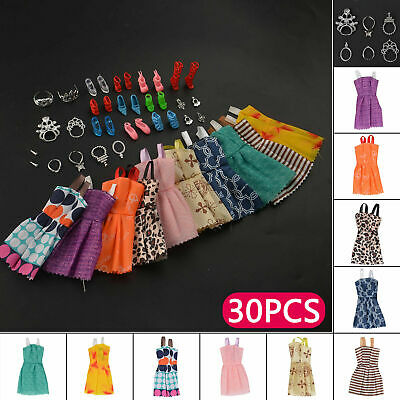 30 Pack For Barbie Doll Random Clothes Party Gown Outfits Shoes Necklaces Girls