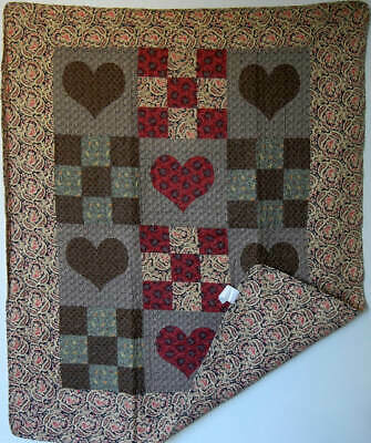 Country Hearts Quilted Throw