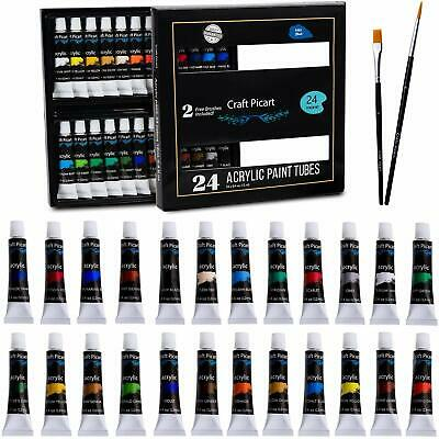 Acrylic Paint Set 24 Colors with 2 Brushes Perfect For Canvas Wood Ceramic- No