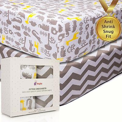 2PK Crib Fitted Sheets Anti-Shrink 100 Soft Cotton Jersey Knit Bedding for Baby