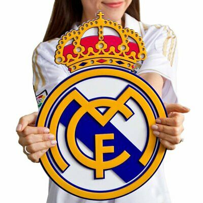Real Madrid Soccer Crest Shield Acrylic to Hang on Wall with Stand