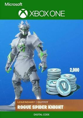 Fortnite Legendary Rogue Spider Knight Outfit w 2000 V-Bucks Xbox One Key Card