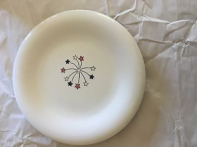 Hausenware 6 14 Snack Plates Fourth of July Red White Blue Fireworks Airplanes