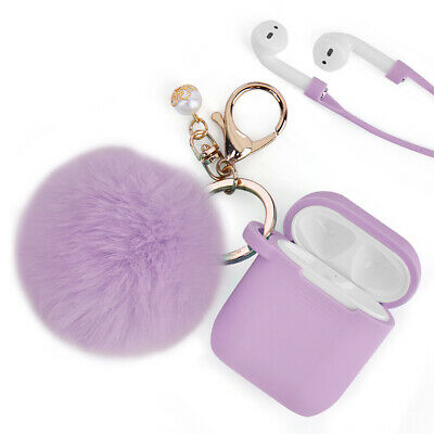 For Airpods 2-1 Charging Case Silicone Earphone Airpod Cover - Keychain Pompom