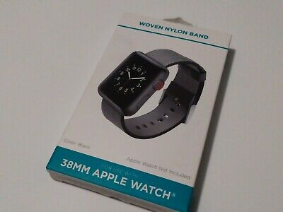 Black Woven Nylon Band For 38mm Apple Watch Withitgear Premium Quality USA