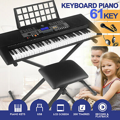61-Key Digital Piano Electronic Keyboard Portable Headphone Microphone WStand