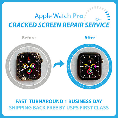 Apple Watch Series 4 44mm Cracked Screen RepairGlass Only-Mail In Service-Fast