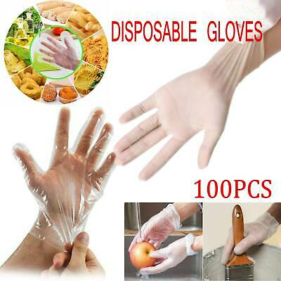 100X Clear Disposable Medical Gloves Cleaning Non Sterile Protective Household