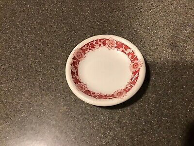 Red Ringed Floral Restaurant China Butter Pat