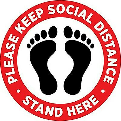 Please Practice Social Distancing Floor Sign Pack of 10 - Each Sticker 8 Inch