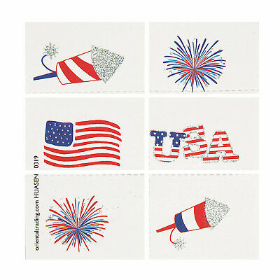 Fourth Of July Temporary Tattoos - Apparel Accessories - 72 Pieces