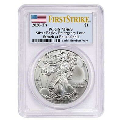 2020 P 1 oz Silver American Eagle PCGS MS 69 FS Emergency Issue