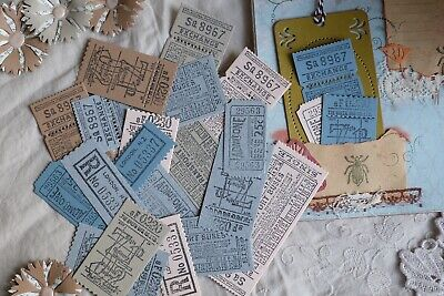 Stanzteile Junk Journal Vintage  Ephemera Set Planner Tickets Handarbeit 30Stk.