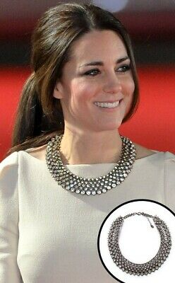 Zara Crystal Rhinestone Statement Necklace As Worn By Kate Middleton Rare
