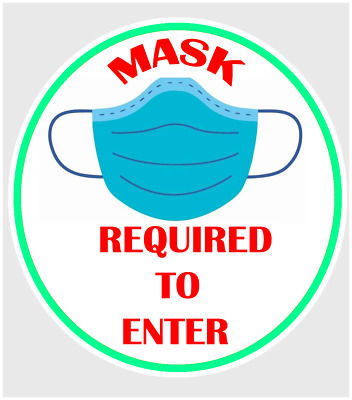 MASK REQUIRED TO ENTER STICKER - Office Store Business Decal 4 Pack - 5 inch