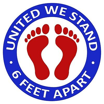 Social Distancing Floor Decals Stickers UNITED WE STAND 6 FEET APART 5 Pack