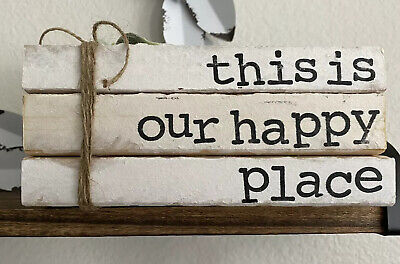 Stamped Books • Farmhouse Decor • This is our Happy Place • Home Decor