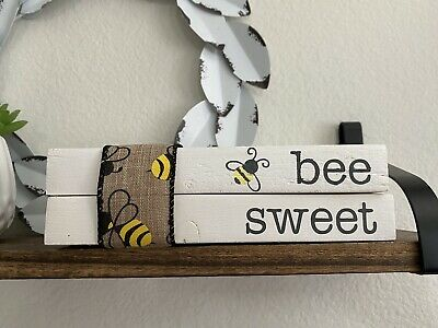 Wood Stamped Books • Farmhouse Decor • Bee Sweet • Tiered Tray Display