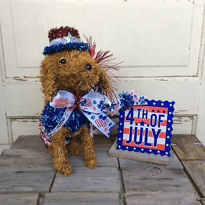 AGD Patriotic Decor - Fourth of July Tinsel Dog and Sign